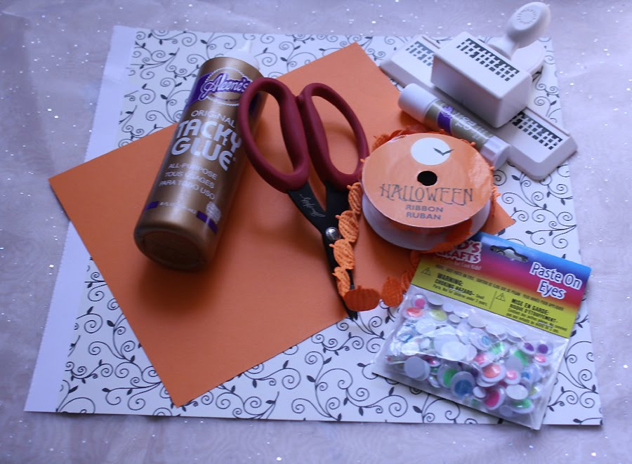 The impatient crafter september 2010 materials decorative black and white scrapbook paper orange cardstock halloween themed ribbon martha stewart rickety fence edge punch or other stopboris Images