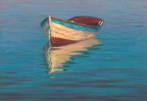 Лодки масляной пастелью