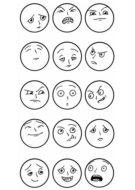 Coloring Pages Emotions Facial Expressions