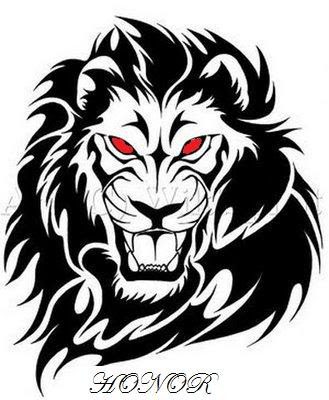 Tattoo design with lion head drawing. Labels: Tattoo Design