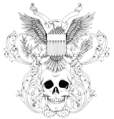 tattoo designs Tattoo design with picture of eagle above a skull