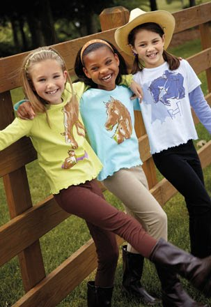 ... this look is in for fall girls love wearing our colorful horse printed
