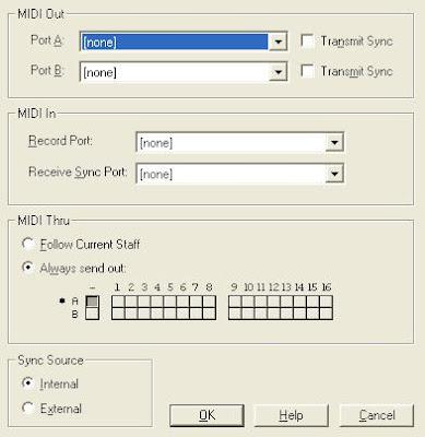 Ventana para la configuración MIDI de partituras.