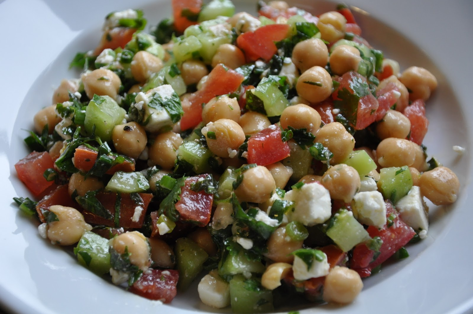 Cucumber And Tomato Salad With Garbanzo Beans And Basil Recipes ...