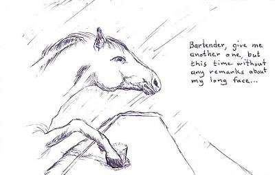 Horse in a bar