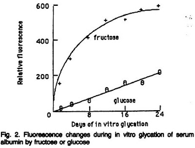 Glycation of albumin by fructose and glucose