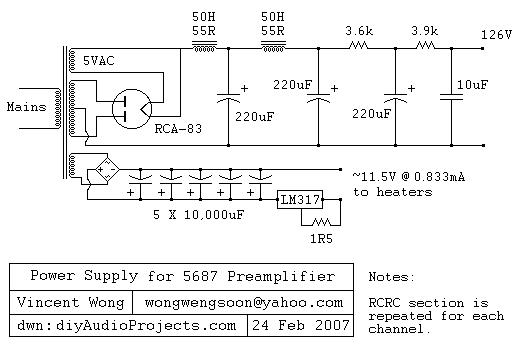 Tube Preamplifier 5687 Led Biased Circuit Diagram
