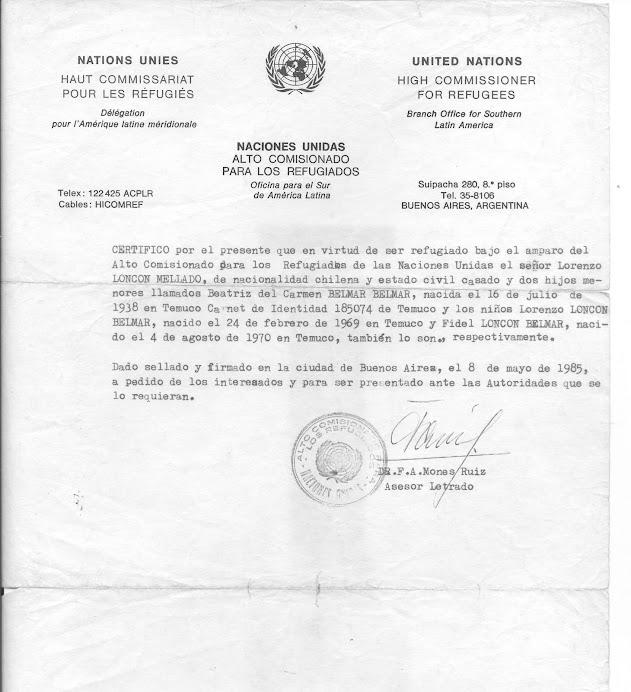 CERTIFICADO DE REFUGIO SOCIOPOLITICO 8-MAYO-1985, PUELMAPU - PETU MONGUELEYIN - ¡¡MARICHI WEU!!