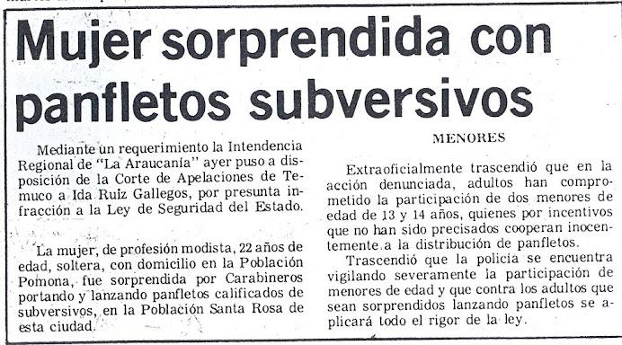 PRISION POLITICA TORTURA MENORES EDAD LONCON B. LORENZO, LONCÓN B. FIDEL -viernes 11 Noviembre 1983