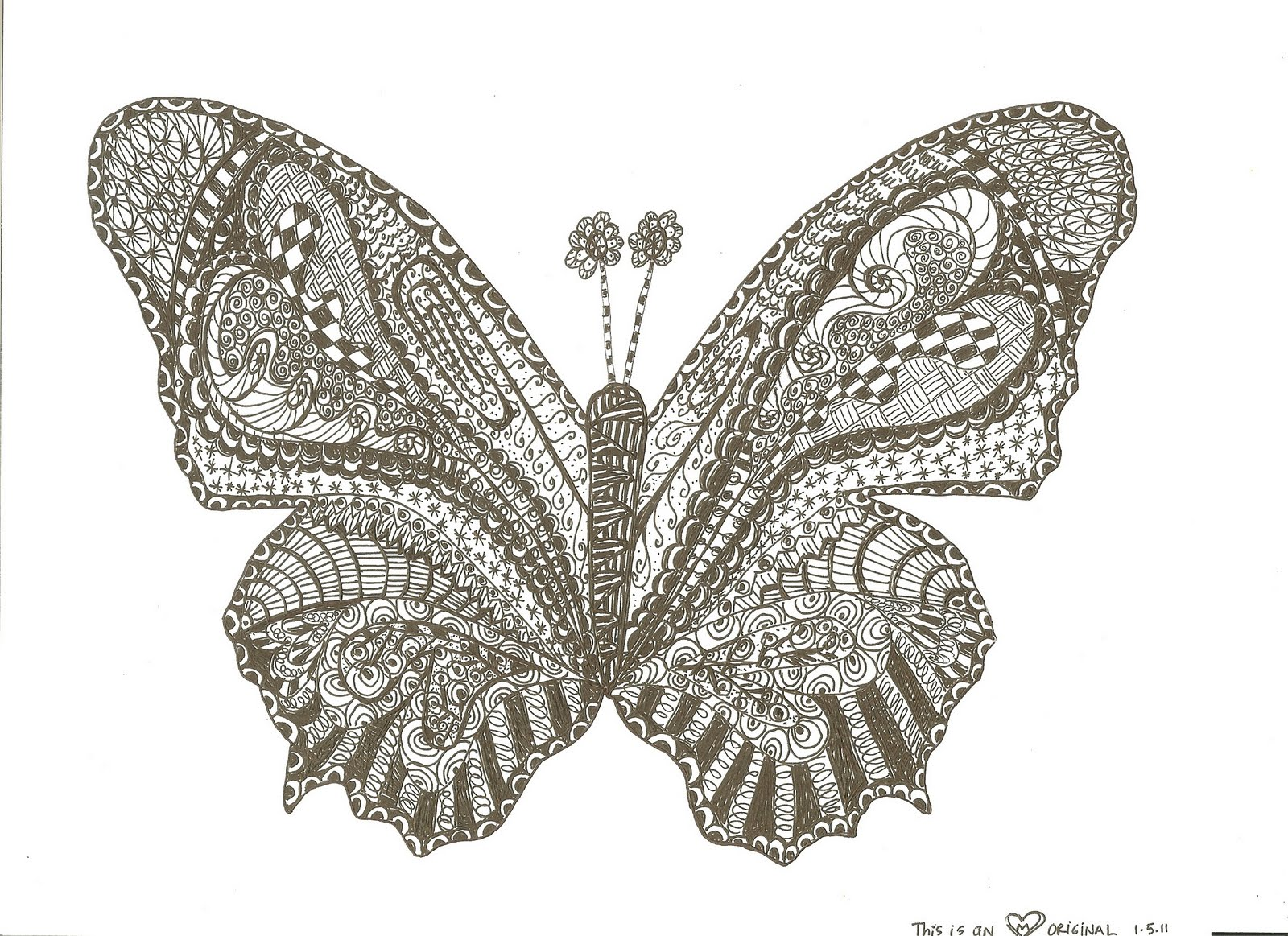 Day 21  Zentangle ButterflyZentangles Butterfly