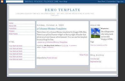 3 columns Minima blogger template