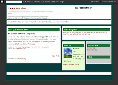 Simple 3 Columns Green - Blogger XML Skin