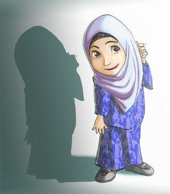 Gambar Kartun Bertudung