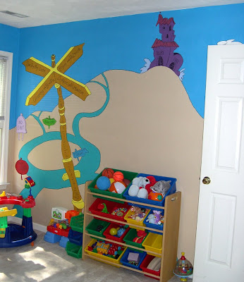 Jen akers design dr seuss playroom wall murals for Dr seuss wall mural
