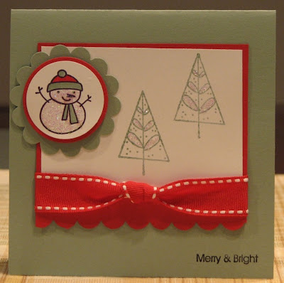 Merry Bright Christmas card from StampinUp supplies made by olgy15