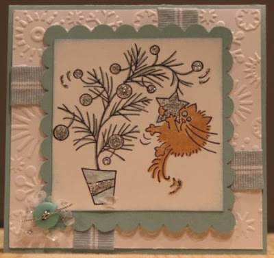 Handmade Christmas or winter card with Fluffles stamp