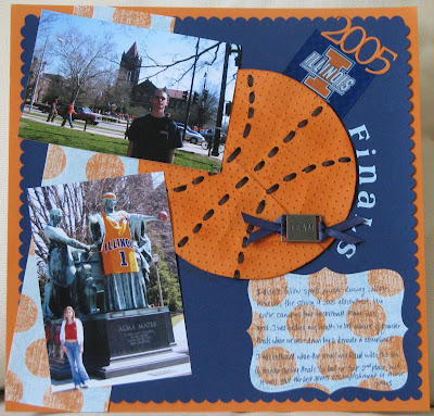 scrapbook, layout, 12 by 12, UIUC, University of Illinois, basketball finals, faux leather, Stampin'Up