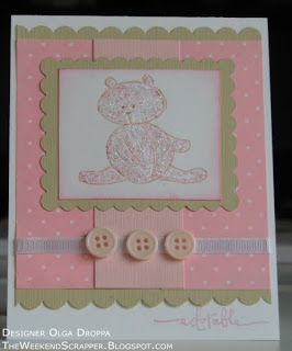 Handmade pink baby girl card using Stampin'Up! Bundle of Joy stamp set for SCS Featured Stamper challenge.