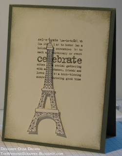 Stamped masculine card for SCS clean and simple challenge using the Stampabilities Eiffel Tower stamp