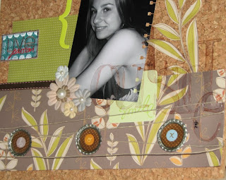 Closeup of a scrapbook layout on a cork background for a blog hop challenge. The layout is using earthy tones, clear Heidi Swapp alphabet and handmade pop cap embelishments.