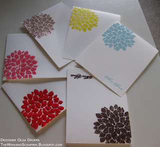 Picture of 6 cards stamped with the same Fabulous Flowers set in different colors and supplies