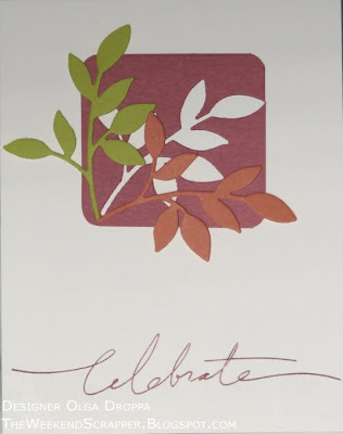 Clean and simple fall card using Sizzix Little Leaves sizzlits for branch die cuts