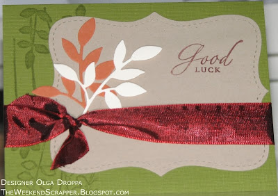 Handmade fall card with die cut leaves and branches