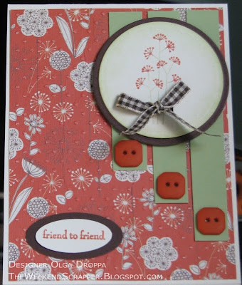 Handmade card using SEI Dill Blossom paper and Stampin'Up! Pocket Silhouettes stamp