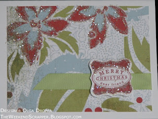 Stamped Christmas card using Basic Grey Dasher paper and glitter