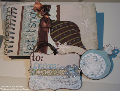 Decorated chipboard album, tag and ornament using Basic Grey  paper, ribbon and rub-ons