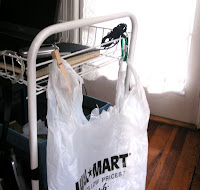 GTDmobile trash bag held by carabiner and a clothespin