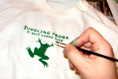 Juggling Frogs: making Gocco t-shirts touch-up paint for the missing parts