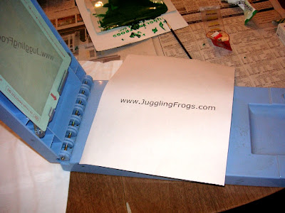 Juggling Frogs: the url had its own screen when making Gocco t-shirts