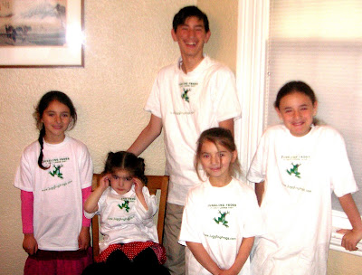 Juggling Frogs t-shirts on the kids