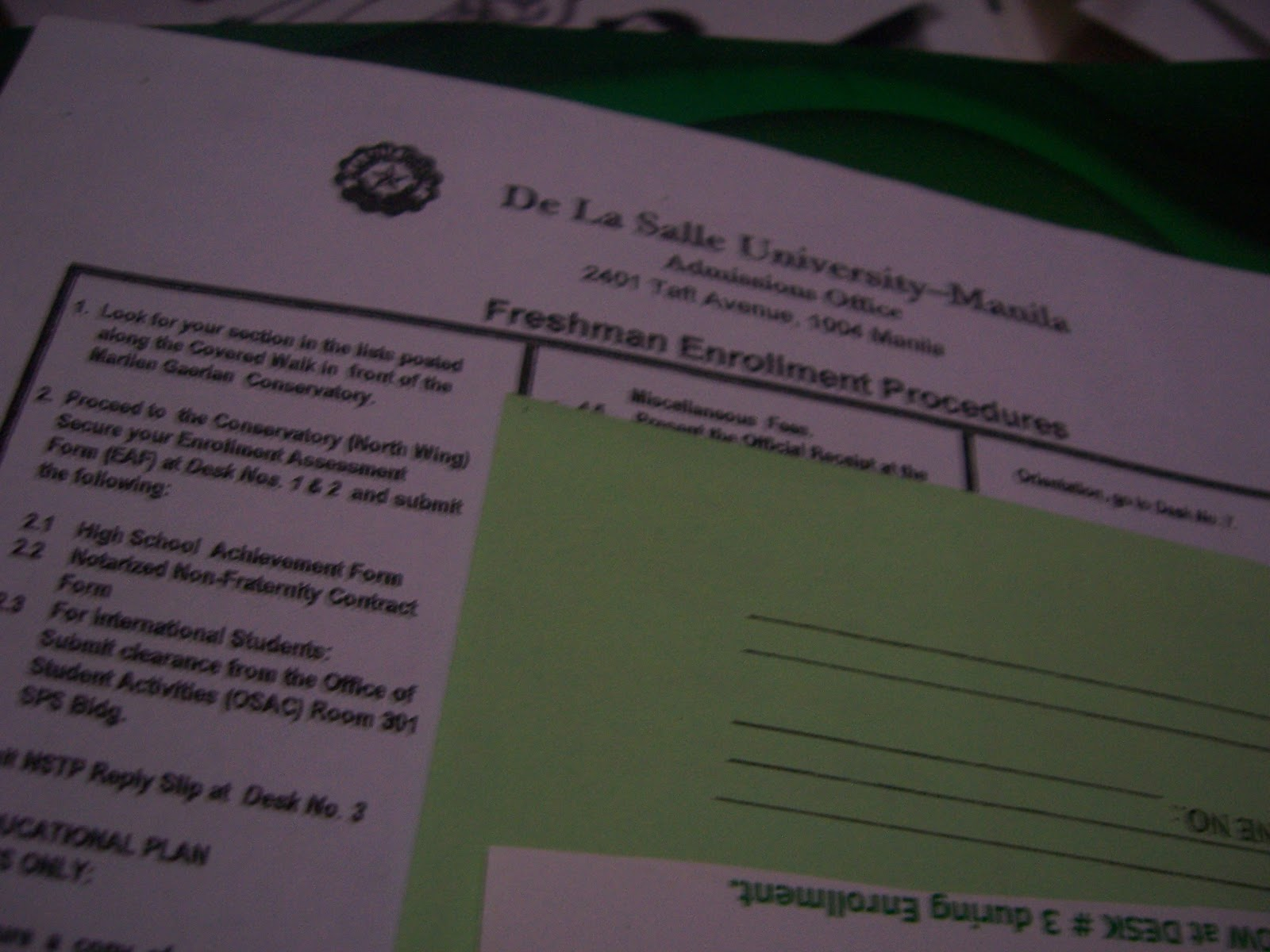 The rest of my DLSU enrollment pack, including a step-by-step guide to enrollment. This went to the trash.