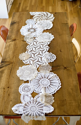 Craft Ideas Doilies on Doily Table Runner From Ashly Ann At The How To Gal