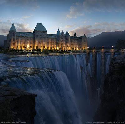 Sebuah universitas pendidikan di quebec, kanada, dengan pemandangan
