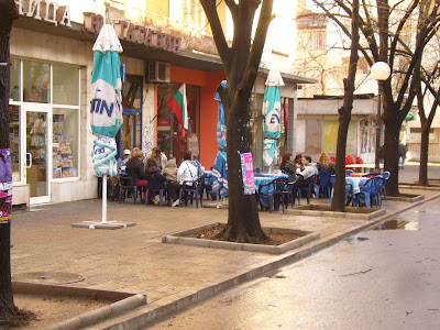 Eating and Drinking Outside a Yambol Street Cafe on New Year's Eve