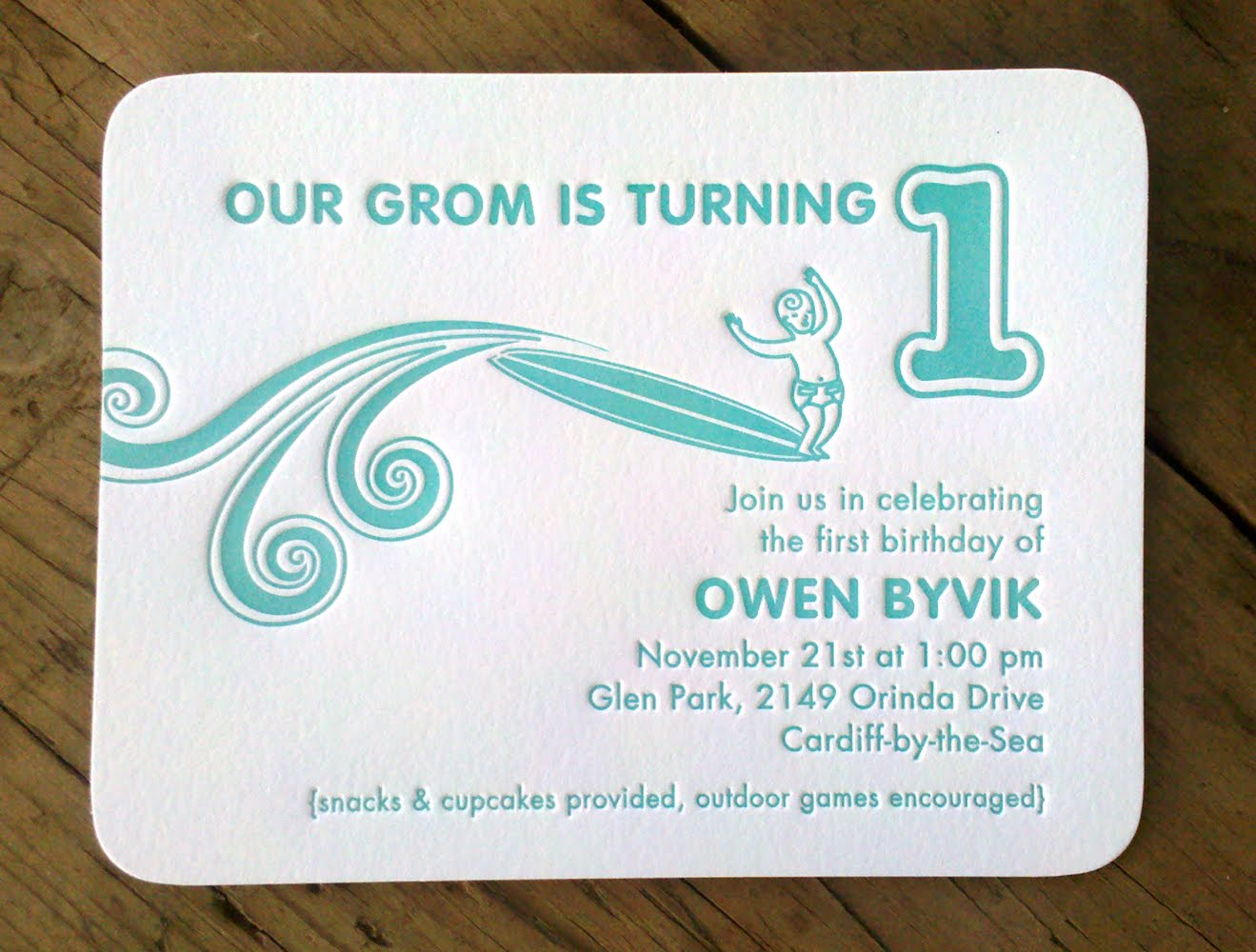 Illustrationletterpress december 2010 my son had his first birthday a few weeks ago this invitation was way more fancy than the affair itself but when you own a letterpress any excuse to stopboris