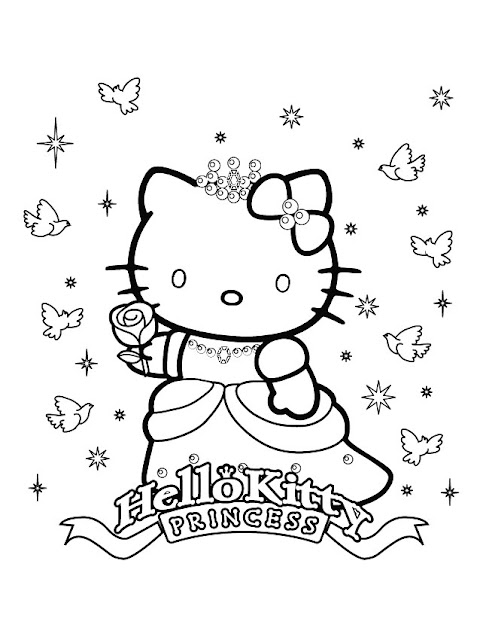 dessin Coloriage Hello Kitty princesse gratuit à imprimer et à colorier