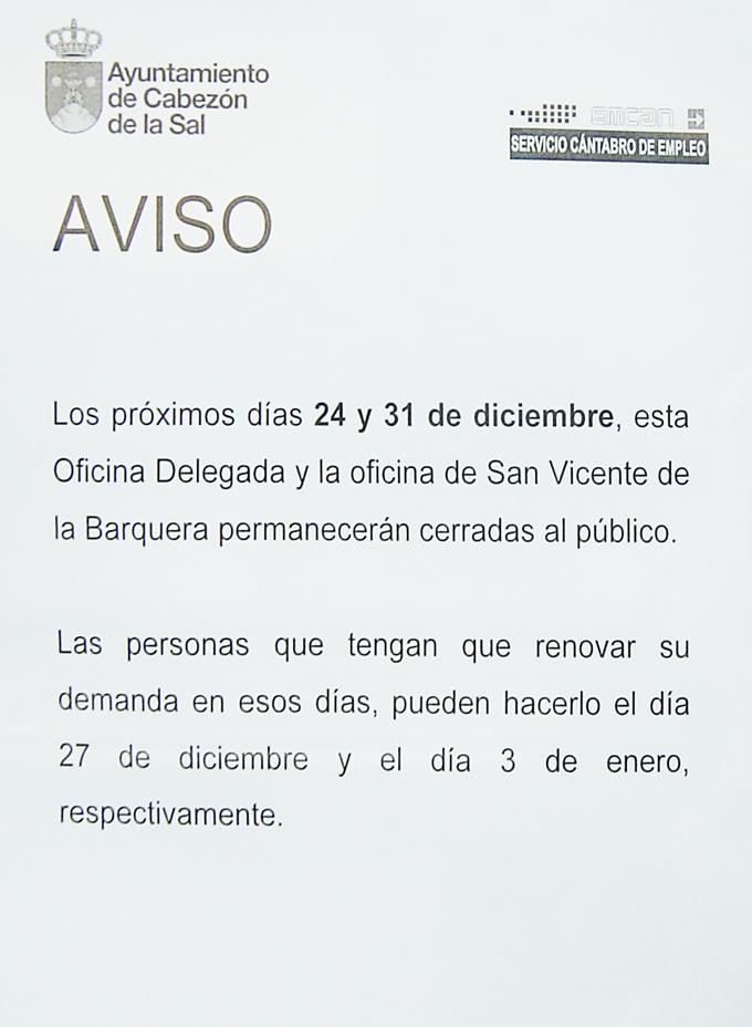Tabl n de anuncios de cabez n de la sal aviso oficina delegada del servicio c ntabro de - Oficina del servicio andaluz de empleo ...