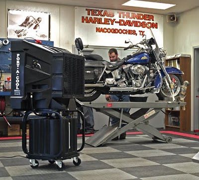 The picture above shows a Harley Davidson dealer using the Port-A-Cool ...