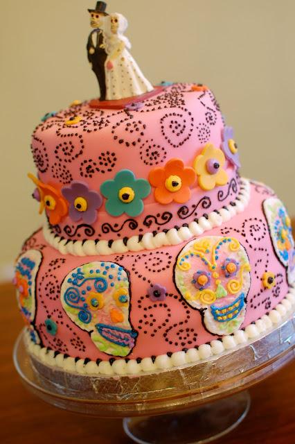 SugarSong Custom Cakes: Dia de Los Muertos Wedding Cake