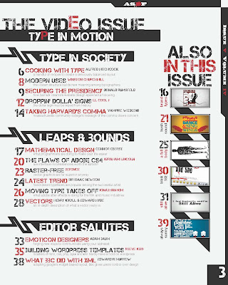 The magazine's table of contents page with the 20 article titles required