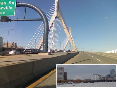 click here for Full Size image of entering the Zakim from the Big Dig tunnel, going North on rte 93