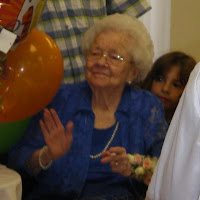 Click here for the full size image of Doris Redfield Chadwick's amidst her presents on her 100th birthday party on Nov 13th, 2008