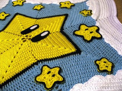 Mario Blanket Crochet Pattern Free : A Gamers Wife: Super Mario Bros. Star Blanket