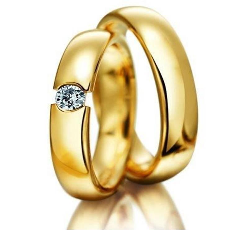 Artesanato Sorocaba Loja ~ LM Jóias Modelo 90 Par de alianças em ouro anat u00f4micas com um diamante de 10 pontos