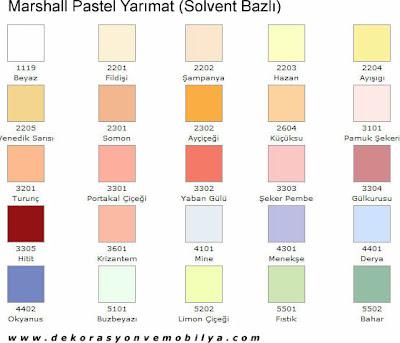 Marshall Yari Mat Renk Katalogu
