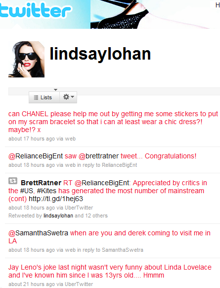 This is a screen shot from Lindsay Lohan's official Twitter page (it's a ...